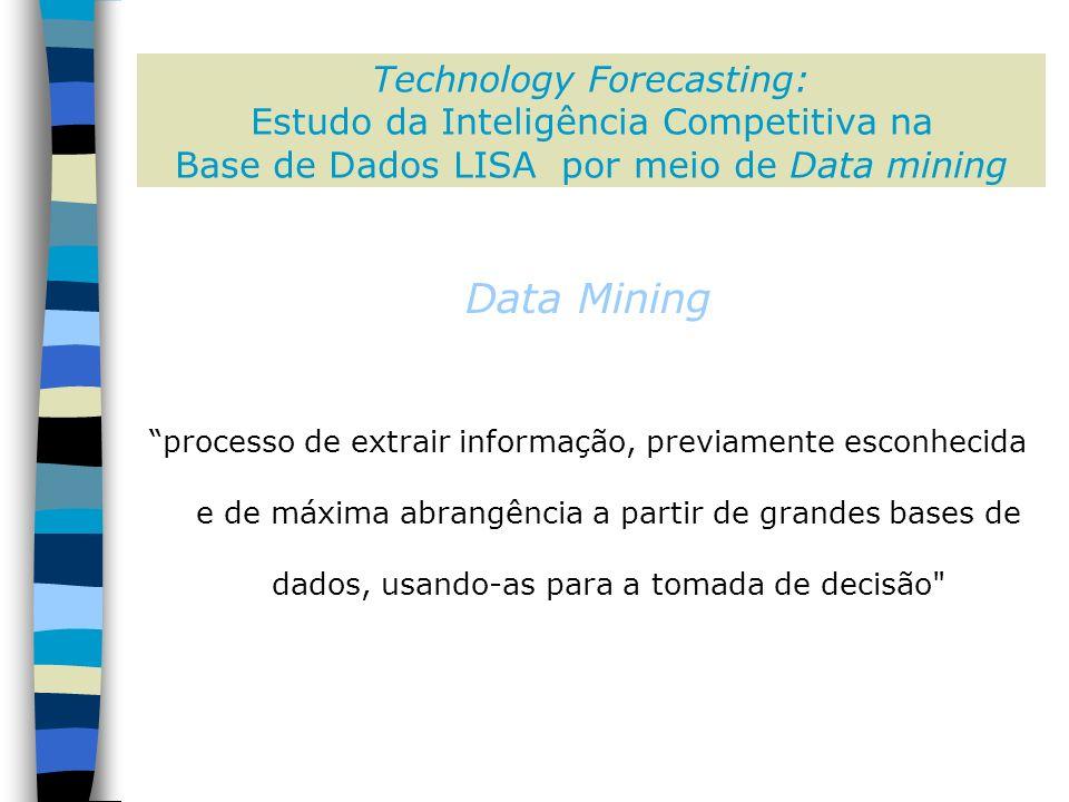 Technology Forecasting: Estudo da Inteligência Competitiva na Base de Dados LISA por meio de Data mining Data Mining processo de extrair informação, previamente esconhecida e de máxima abrangência a partir de grandes bases de dados, usando-as para a tomada de decisão
