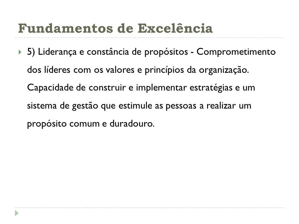 Fundamentos de Excelência 5) Liderança e constância de propósitos - Comprometimento dos líderes com os valores e princípios da organização. Capacidade