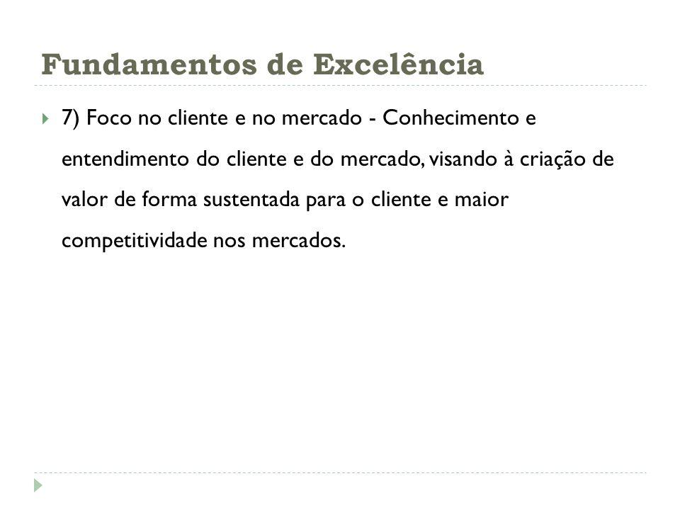 Fundamentos de Excelência 7) Foco no cliente e no mercado - Conhecimento e entendimento do cliente e do mercado, visando à criação de valor de forma s