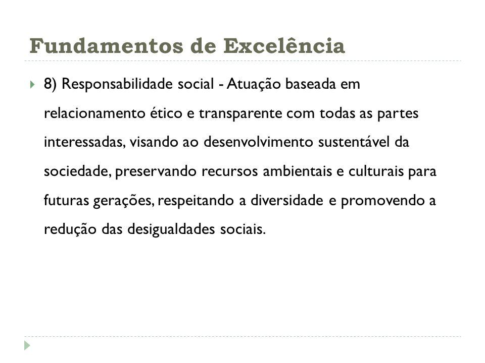 Fundamentos de Excelência 8) Responsabilidade social - Atuação baseada em relacionamento ético e transparente com todas as partes interessadas, visand