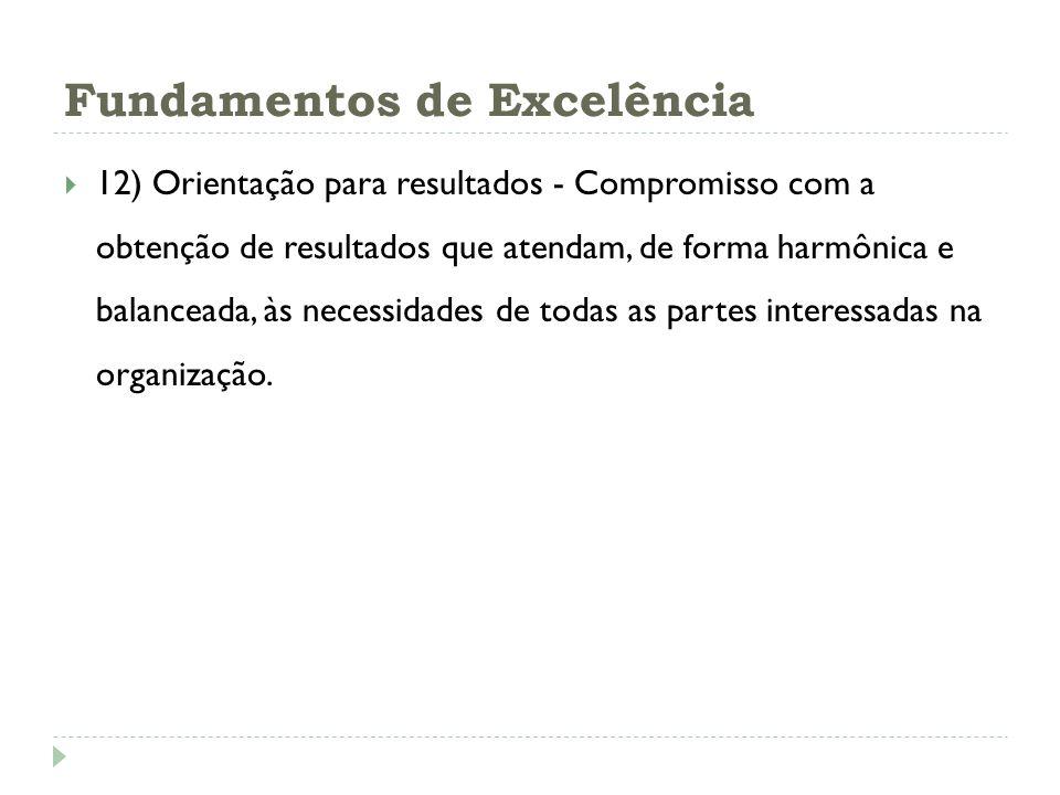 Fundamentos de Excelência 12) Orientação para resultados - Compromisso com a obtenção de resultados que atendam, de forma harmônica e balanceada, às n