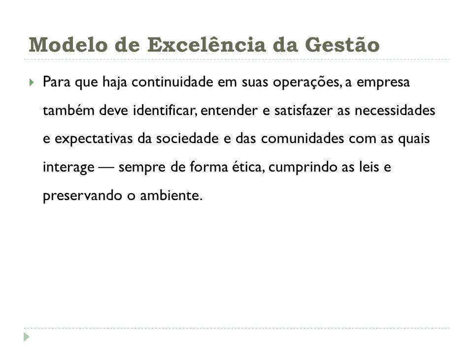 Modelo de Excelência da Gestão Para que haja continuidade em suas operações, a empresa também deve identificar, entender e satisfazer as necessidades