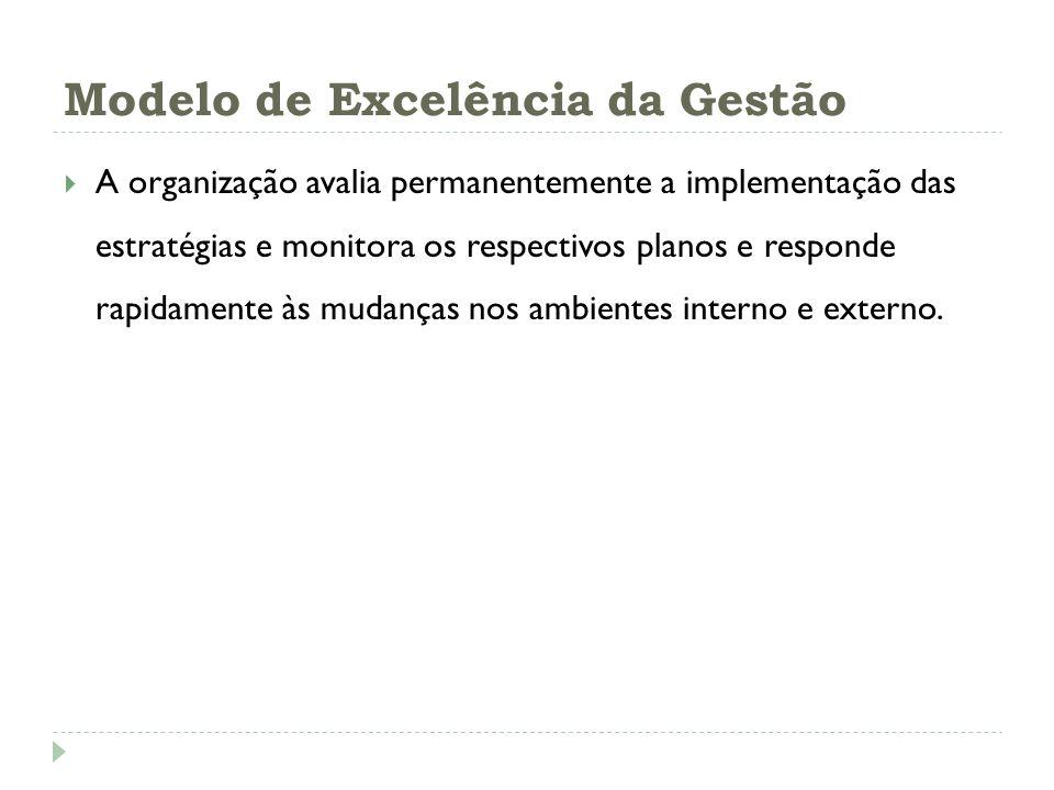 Modelo de Excelência da Gestão A organização avalia permanentemente a implementação das estratégias e monitora os respectivos planos e responde rapida