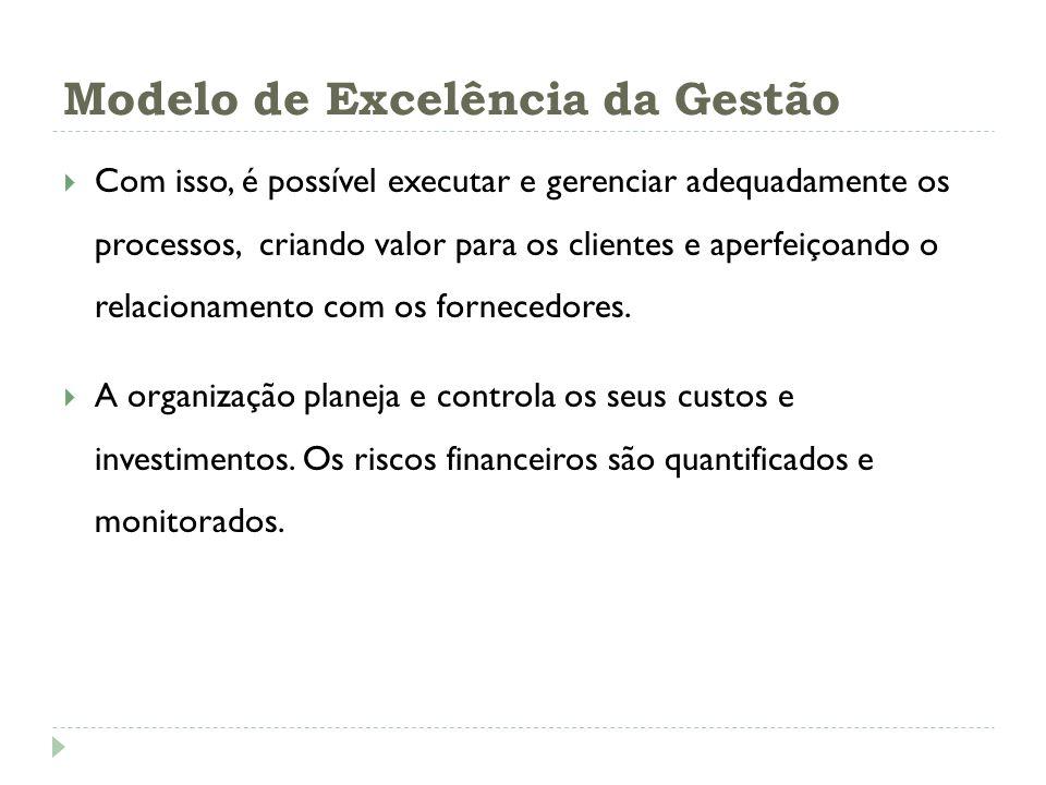 Modelo de Excelência da Gestão Com isso, é possível executar e gerenciar adequadamente os processos, criando valor para os clientes e aperfeiçoando o