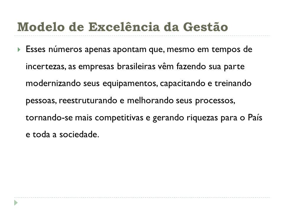 Modelo de Excelência da Gestão Esses números apenas apontam que, mesmo em tempos de incertezas, as empresas brasileiras vêm fazendo sua parte moderniz