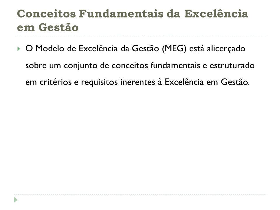 Conceitos Fundamentais da Excelência em Gestão O Modelo de Excelência da Gestão (MEG) está alicerçado sobre um conjunto de conceitos fundamentais e es