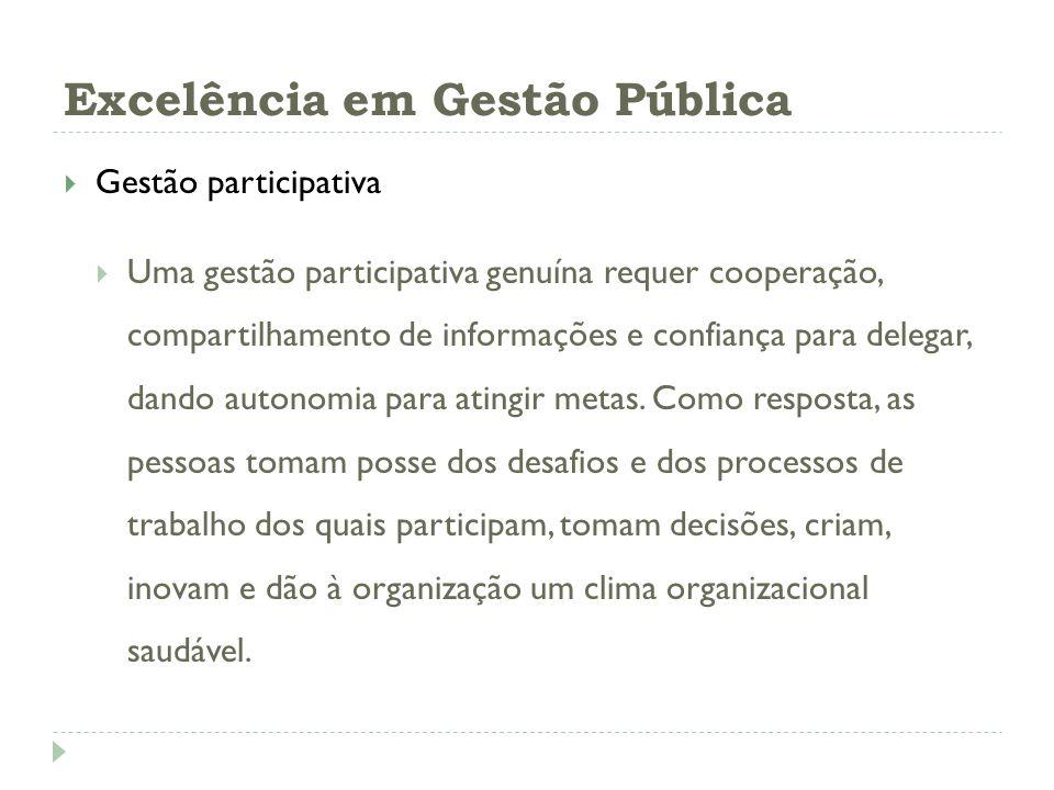 Excelência em Gestão Pública Gestão participativa Uma gestão participativa genuína requer cooperação, compartilhamento de informações e confiança para