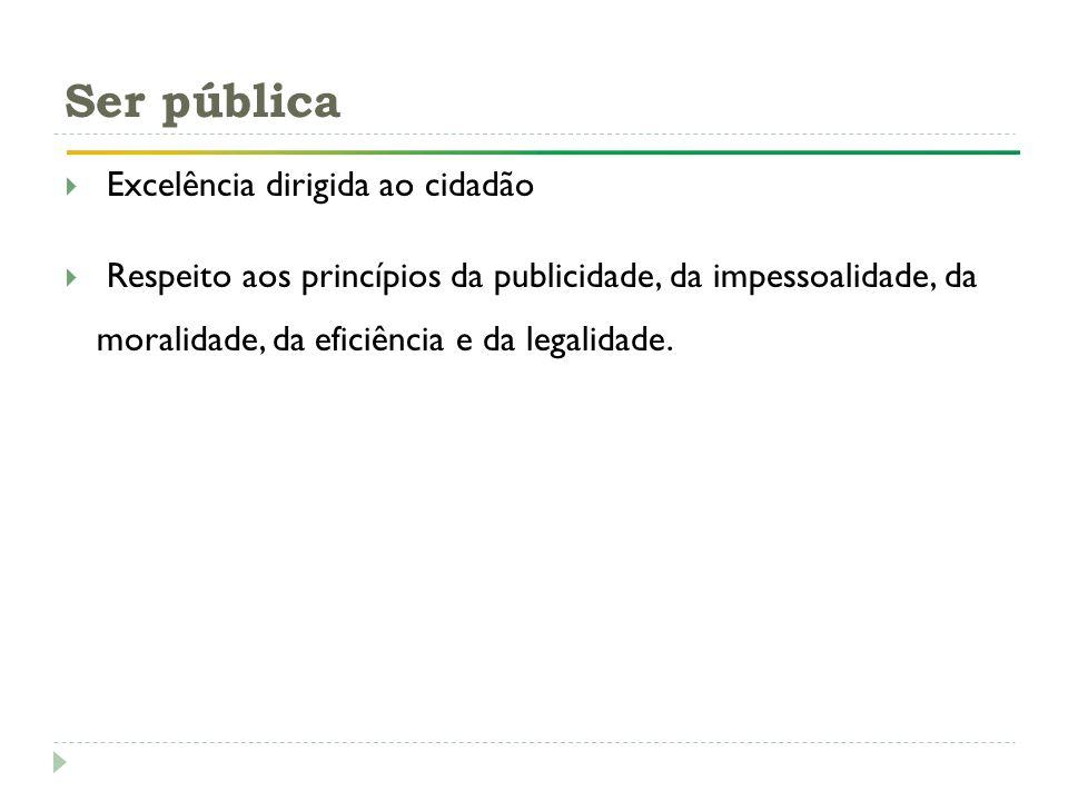 Excelência dirigida ao Cidadão Publicidade Moralidade Eficiência Legalidade Impessoalidade Ser pública Excelência dirigida ao cidadão Respeito aos pri