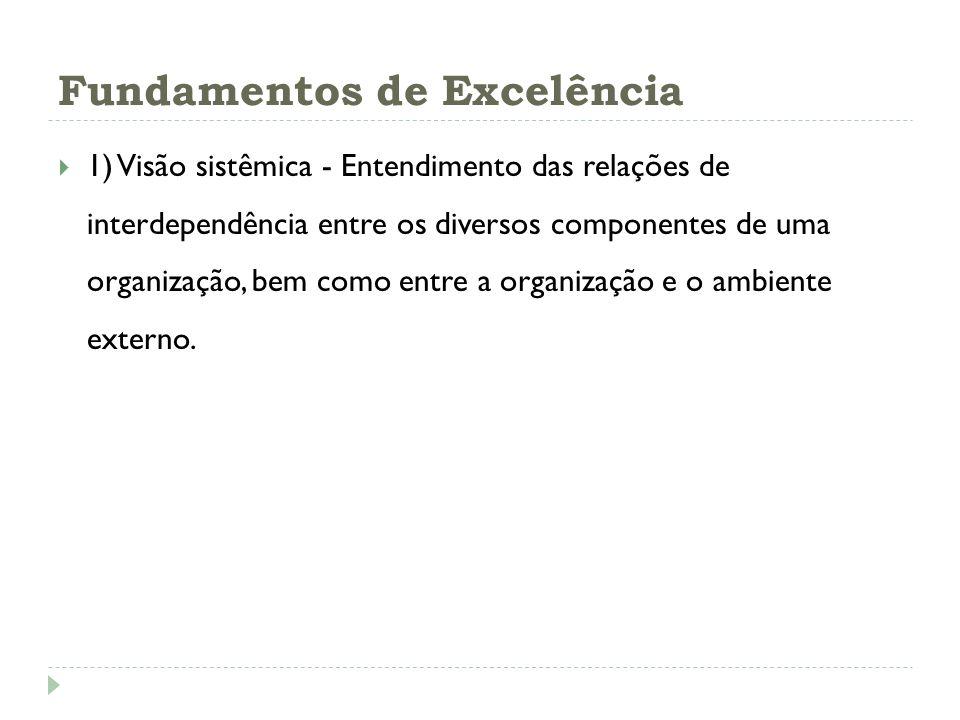 Fundamentos de Excelência 1) Visão sistêmica - Entendimento das relações de interdependência entre os diversos componentes de uma organização, bem com