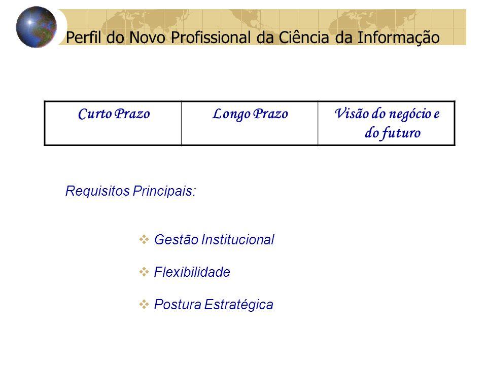 Perfil do Novo Profissional da Ciência da Informação Requisitos Principais: Gestão Institucional Flexibilidade Postura Estratégica Curto PrazoLongo PrazoVisão do negócio e do futuro