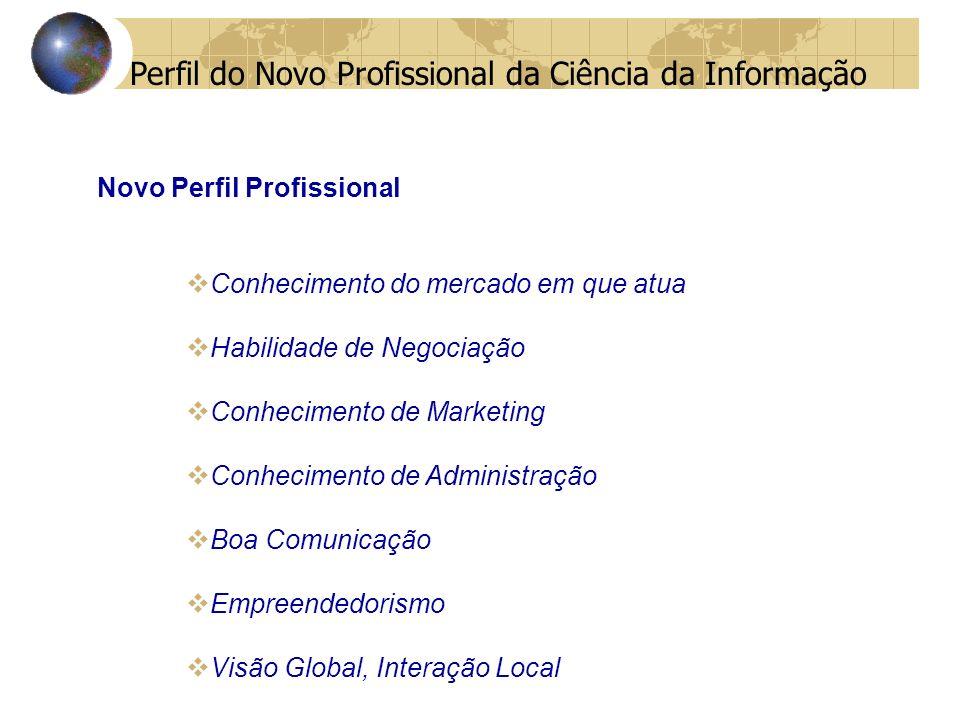 Novo Perfil Profissional Conhecimento do mercado em que atua Habilidade de Negociação Conhecimento de Marketing Conhecimento de Administração Boa Comunicação Empreendedorismo Visão Global, Interação Local Perfil do Novo Profissional da Ciência da Informação