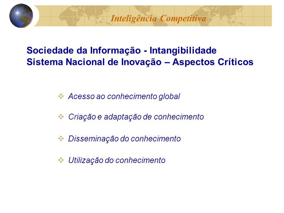 Acesso ao conhecimento global Criação e adaptação de conhecimento Disseminação do conhecimento Utilização do conhecimento Inteligência Competitiva Sociedade da Informação - Intangibilidade Sistema Nacional de Inovação – Aspectos Críticos