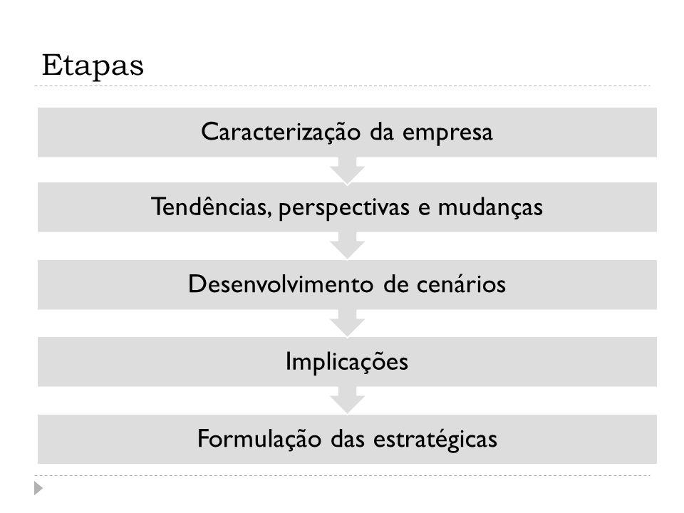 Etapas Formulação das estratégicas Implicações Desenvolvimento de cenários Tendências, perspectivas e mudanças Caracterização da empresa