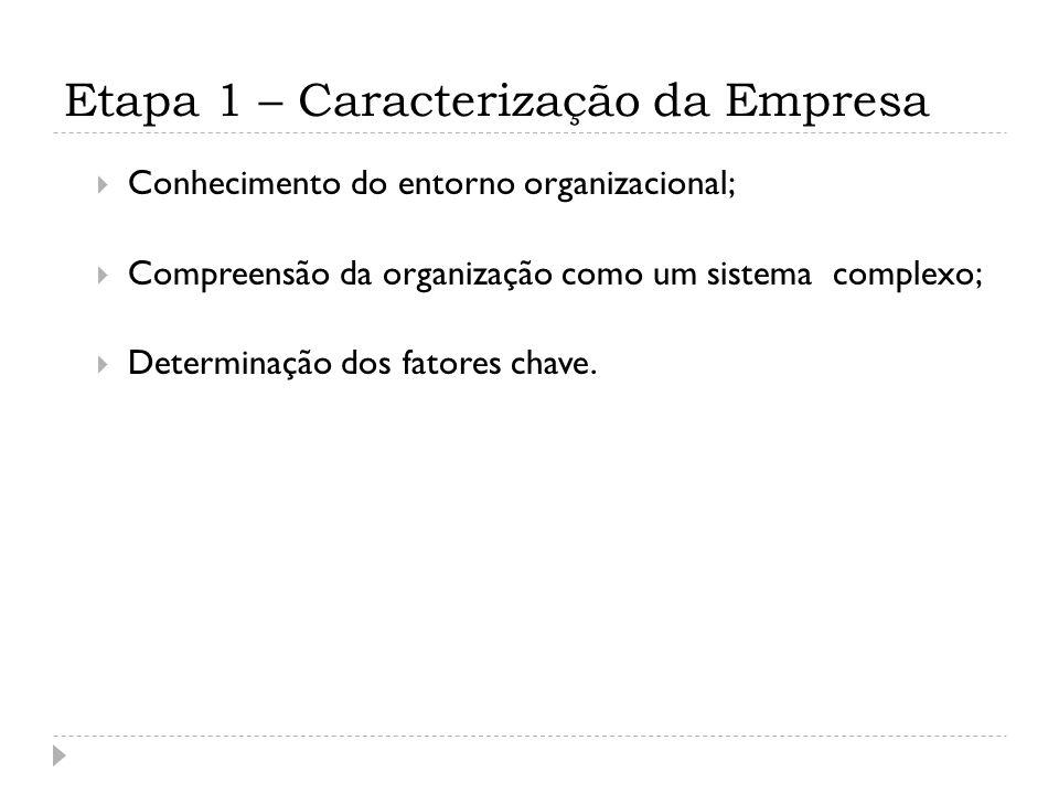 Etapa 1 – Caracterização da Empresa Conhecimento do entorno organizacional; Compreensão da organização como um sistema complexo; Determinação dos fatores chave.
