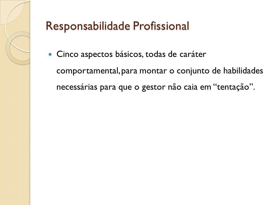 Responsabilidade Profissional Cinco aspectos básicos, todas de caráter comportamental, para montar o conjunto de habilidades necessárias para que o ge