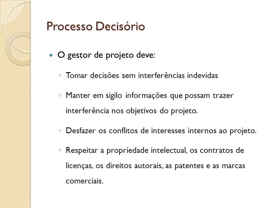 Processo Decisório O gestor de projeto deve: Tomar decisões sem interferências indevidas Manter em sigilo informações que possam trazer interferência