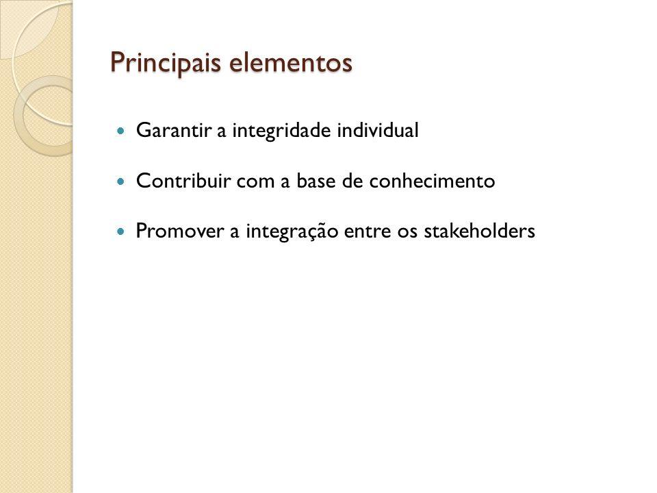 Principais elementos Garantir a integridade individual Contribuir com a base de conhecimento Promover a integração entre os stakeholders