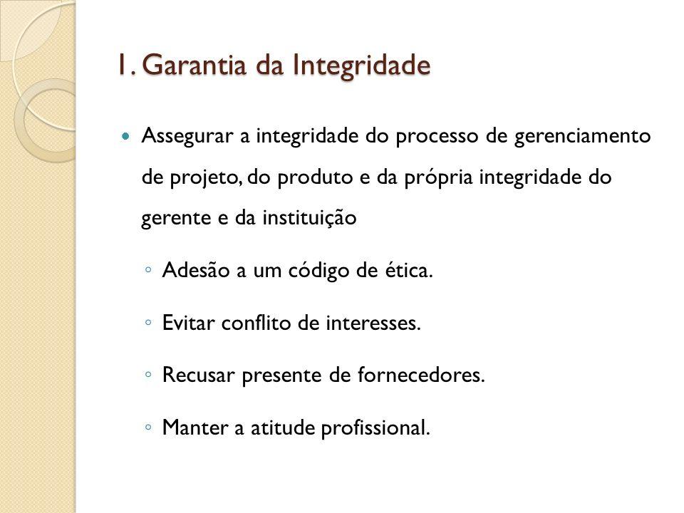 1. Garantia da Integridade Assegurar a integridade do processo de gerenciamento de projeto, do produto e da própria integridade do gerente e da instit