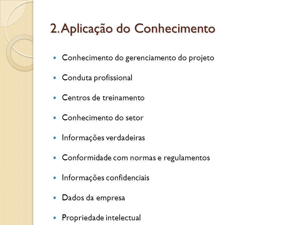 2. Aplicação do Conhecimento Conhecimento do gerenciamento do projeto Conduta profissional Centros de treinamento Conhecimento do setor Informações ve