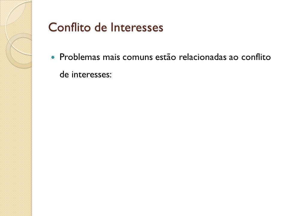 Conflito de Interesses Problemas mais comuns estão relacionadas ao conflito de interesses:
