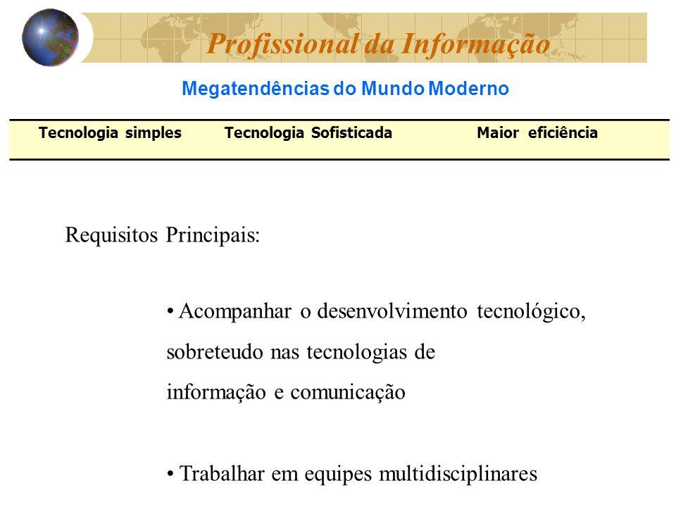 Requisitos Principais: Acompanhar o desenvolvimento tecnológico, sobreteudo nas tecnologias de informação e comunicação Trabalhar em equipes multidisciplinares Megatendências do Mundo Moderno Profissional da Informação Tecnologia simplesTecnologia SofisticadaMaior eficiência