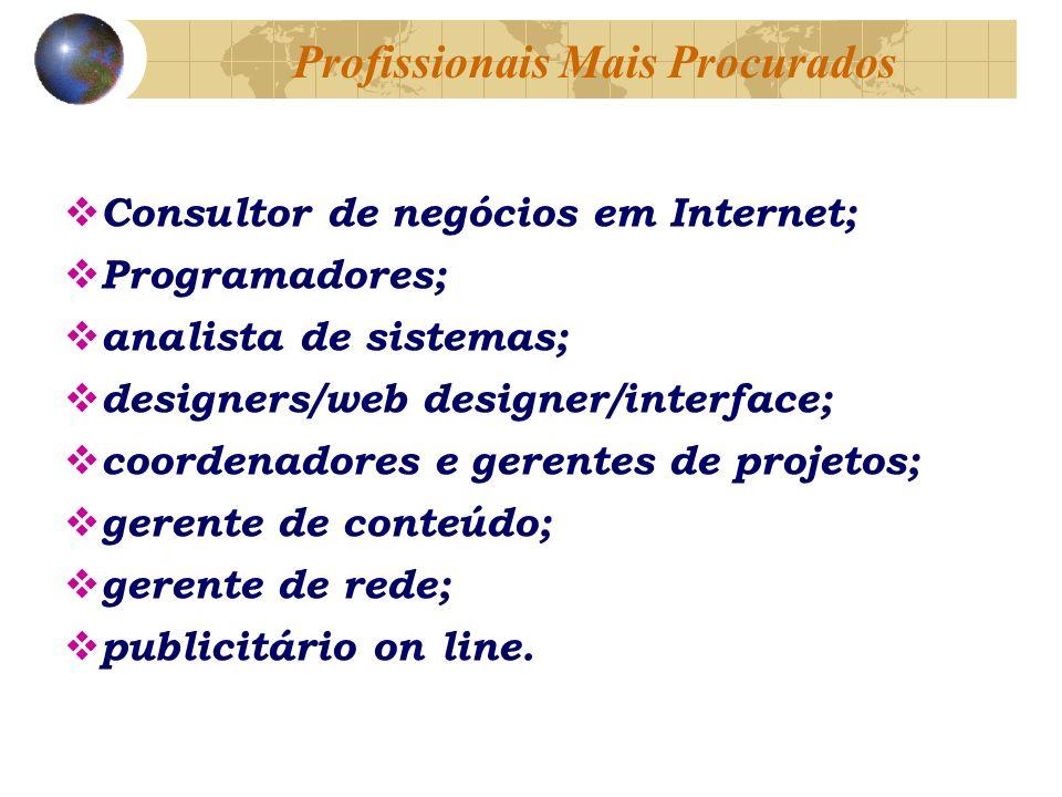 Consultor de negócios em Internet; Programadores; analista de sistemas; designers/web designer/interface; coordenadores e gerentes de projetos; gerente de conteúdo; gerente de rede; publicitário on line.