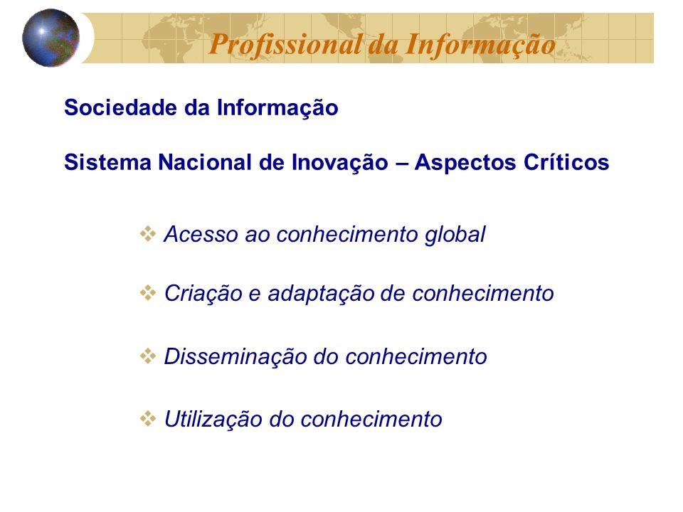 Acesso ao conhecimento global Criação e adaptação de conhecimento Disseminação do conhecimento Utilização do conhecimento Sociedade da Informação Sistema Nacional de Inovação – Aspectos Críticos Profissional da Informação