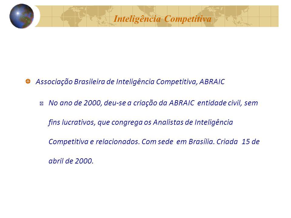 Inteligência Competitiva Associação Brasileira de Inteligência Competitiva, ABRAIC No ano de 2000, deu-se a criação da ABRAIC entidade civil, sem fins lucrativos, que congrega os Analistas de Inteligência Competitiva e relacionados.