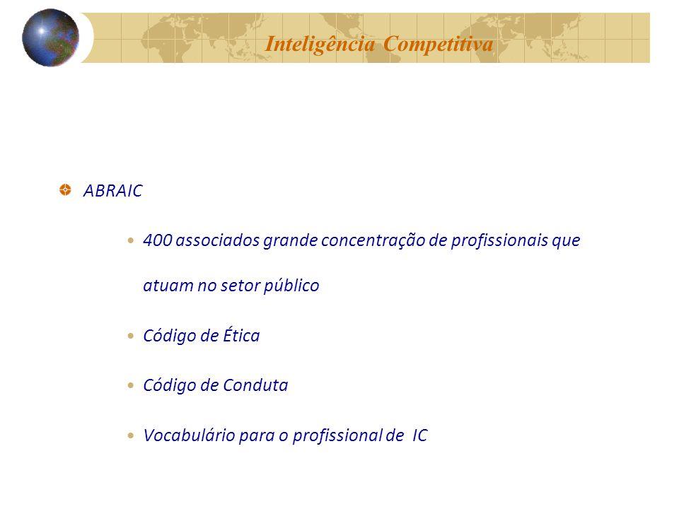 Inteligência Competitiva ABRAIC 400 associados grande concentração de profissionais que atuam no setor público Código de Ética Código de Conduta Vocabulário para o profissional de IC