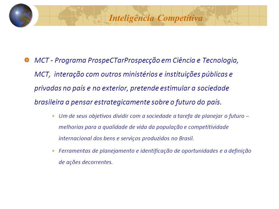 Inteligência Competitiva MCT - Programa ProspeCTarProspecção em Ciência e Tecnologia, MCT, interação com outros ministérios e instituições públicas e privadas no país e no exterior, pretende estimular a sociedade brasileira a pensar estrategicamente sobre o futuro do país.