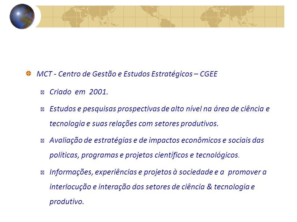 MCT - Centro de Gestão e Estudos Estratégicos – CGEE Criado em 2001.