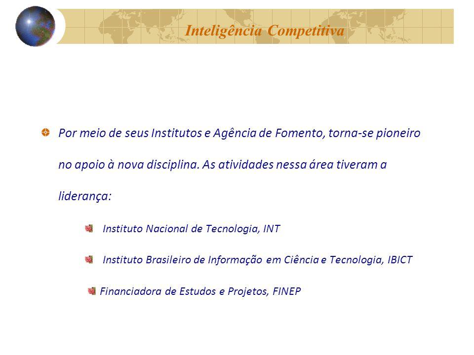 Inteligência Competitiva Por meio de seus Institutos e Agência de Fomento, torna-se pioneiro no apoio à nova disciplina.