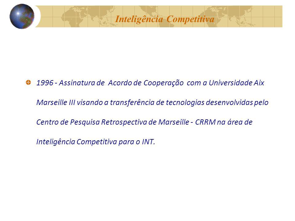 Inteligência Competitiva 1996 - Assinatura de Acordo de Cooperação com a Universidade Aix Marseille III visando a transferência de tecnologias desenvolvidas pelo Centro de Pesquisa Retrospectiva de Marseille - CRRM na área de Inteligência Competitiva para o INT.