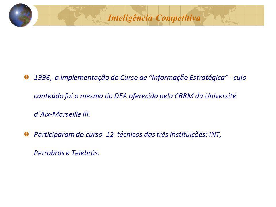 Inteligência Competitiva 1996, a implementação do Curso de Informação Estratégica - cujo conteúdo foi o mesmo do DEA oferecido pelo CRRM da Université d´Aix-Marseille III.
