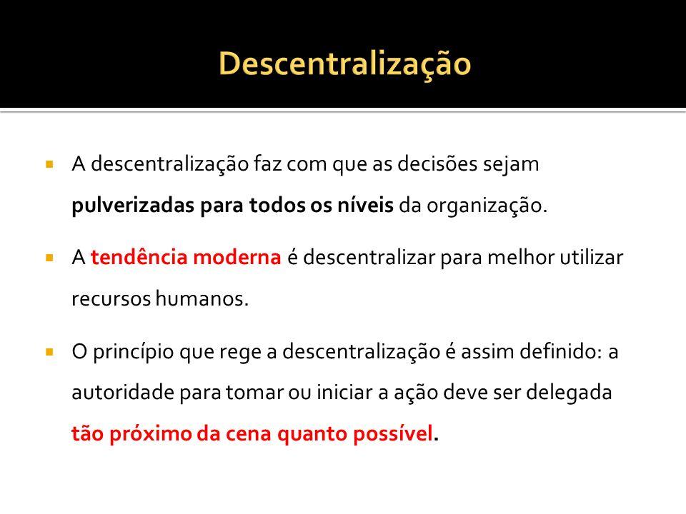 A descentralização faz com que as decisões sejam pulverizadas para todos os níveis da organização.