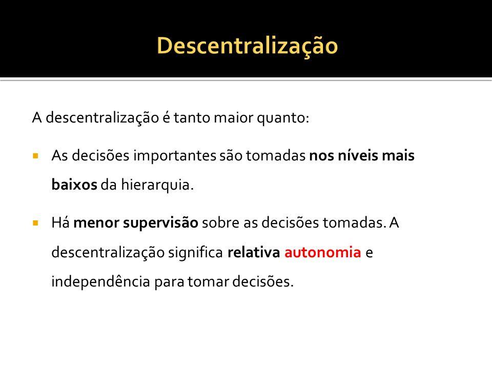 A descentralização é tanto maior quanto: As decisões importantes são tomadas nos níveis mais baixos da hierarquia.