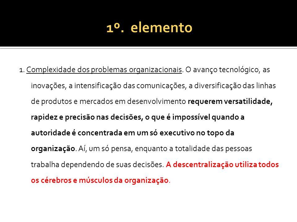 1. Complexidade dos problemas organizacionais. O avanço tecnológico, as inovações, a intensificação das comunicações, a diversificação das linhas de p