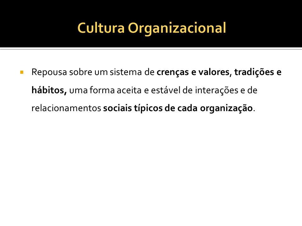 Repousa sobre um sistema de crenças e valores, tradições e hábitos, uma forma aceita e estável de interações e de relacionamentos sociais típicos de cada organização.