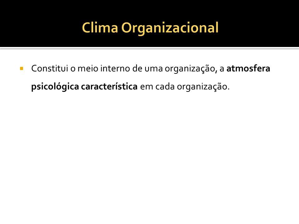 Constitui o meio interno de uma organização, a atmosfera psicológica característica em cada organização.