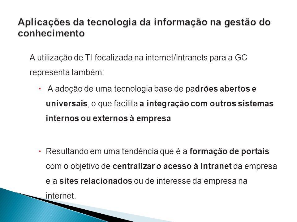 A utilização de TI focalizada na internet/intranets para a GC representa também: A adoção de uma tecnologia base de padrões abertos e universais, o qu