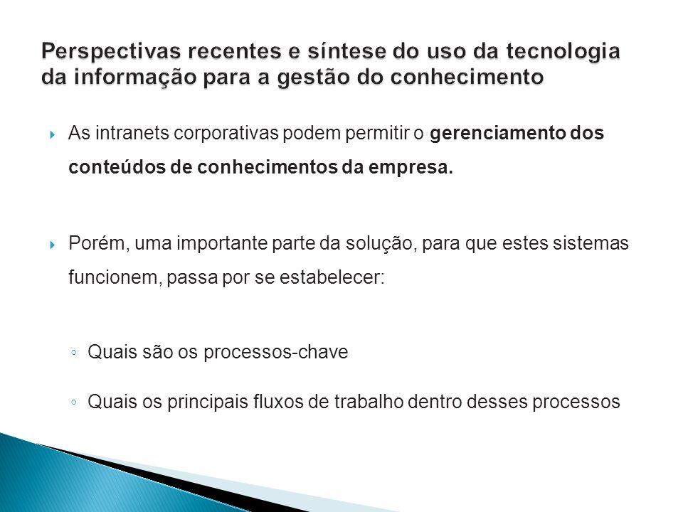 As intranets corporativas podem permitir o gerenciamento dos conteúdos de conhecimentos da empresa. Porém, uma importante parte da solução, para que e