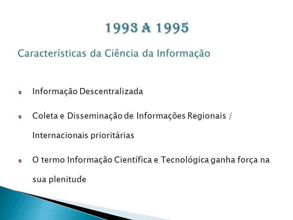 Características da Ciência da Informação Informação Descentralizada Coleta e Disseminação de Informações Regionais / Internacionais prioritárias O ter