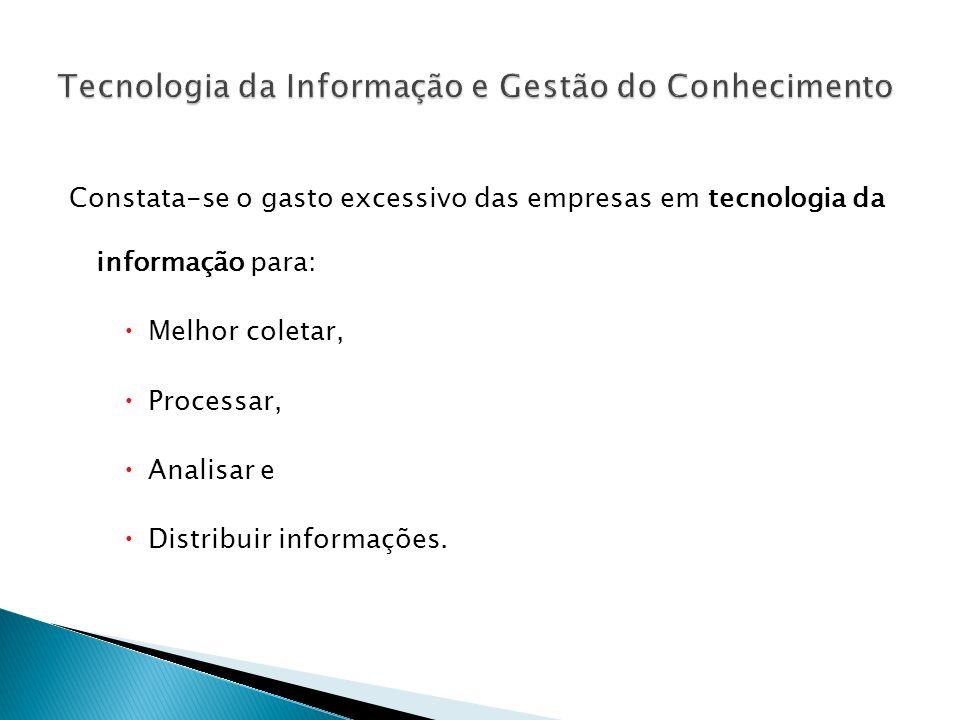 Constata-se o gasto excessivo das empresas em tecnologia da informação para: Melhor coletar, Processar, Analisar e Distribuir informações.