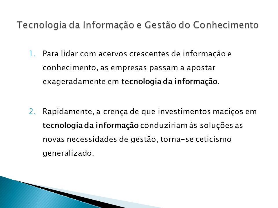 1.Para lidar com acervos crescentes de informação e conhecimento, as empresas passam a apostar exageradamente em tecnologia da informação. 2.Rapidamen