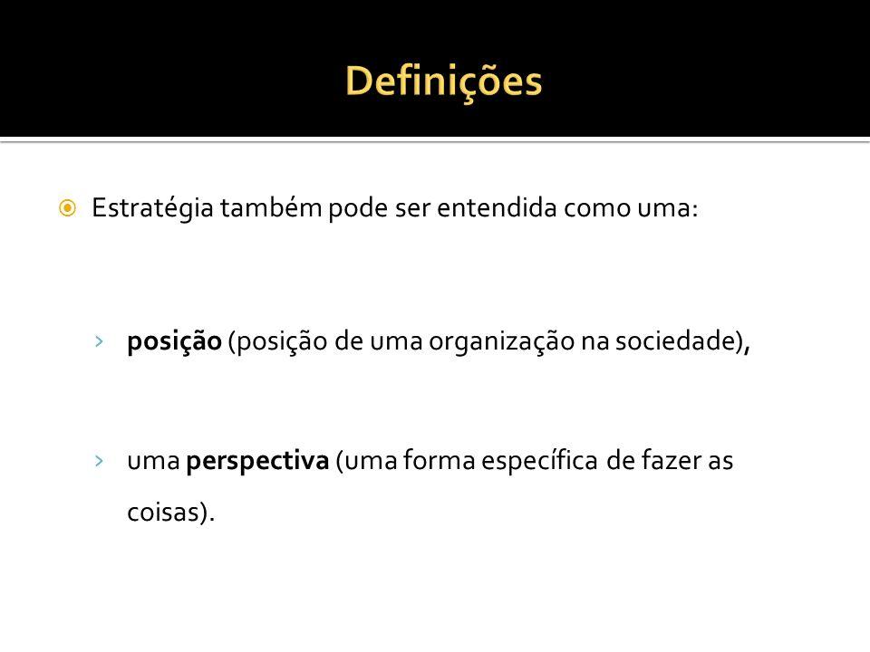 Estratégia também pode ser entendida como uma: posição (posição de uma organização na sociedade), uma perspectiva (uma forma específica de fazer as coisas).