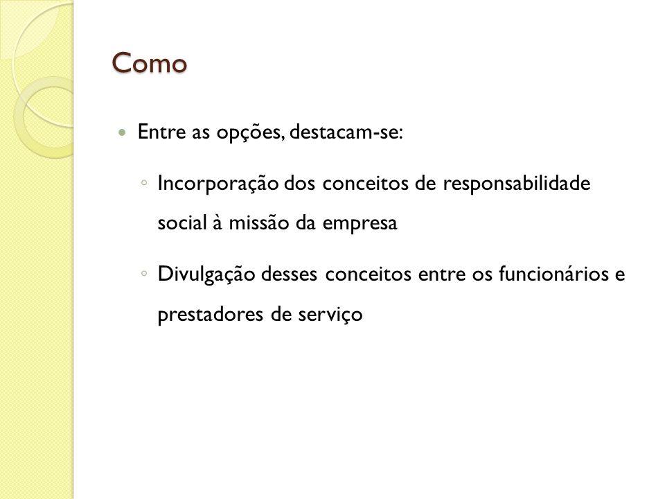Como Entre as opções, destacam-se: Incorporação dos conceitos de responsabilidade social à missão da empresa Divulgação desses conceitos entre os func