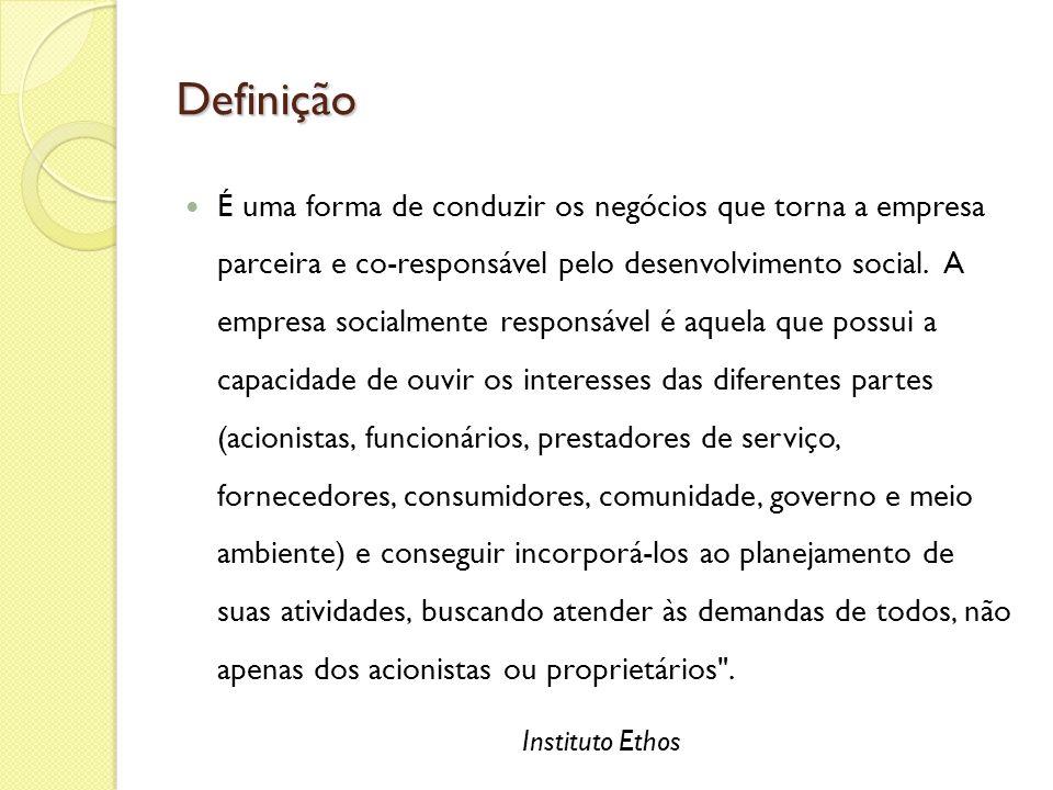 Definição É uma forma de conduzir os negócios que torna a empresa parceira e co-responsável pelo desenvolvimento social. A empresa socialmente respons