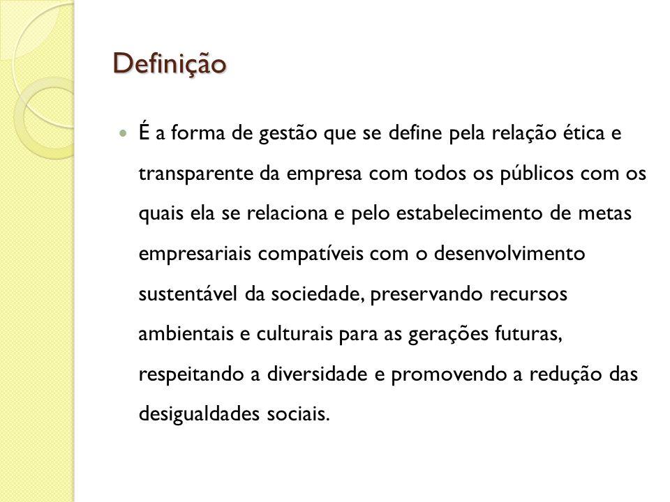 Definição É a forma de gestão que se define pela relação ética e transparente da empresa com todos os públicos com os quais ela se relaciona e pelo es