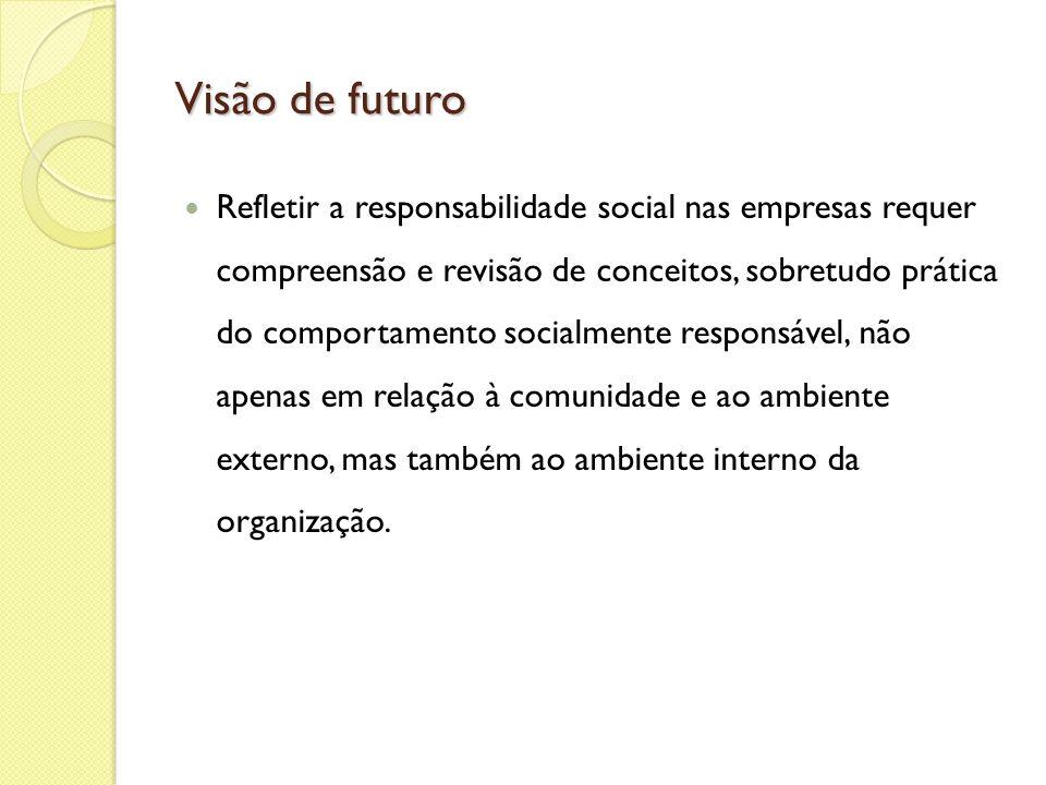 Visão de futuro Refletir a responsabilidade social nas empresas requer compreensão e revisão de conceitos, sobretudo prática do comportamento socialme