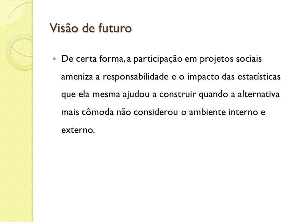 Visão de futuro De certa forma, a participação em projetos sociais ameniza a responsabilidade e o impacto das estatísticas que ela mesma ajudou a cons